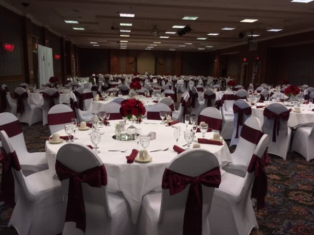red and white themed event in the ballroom