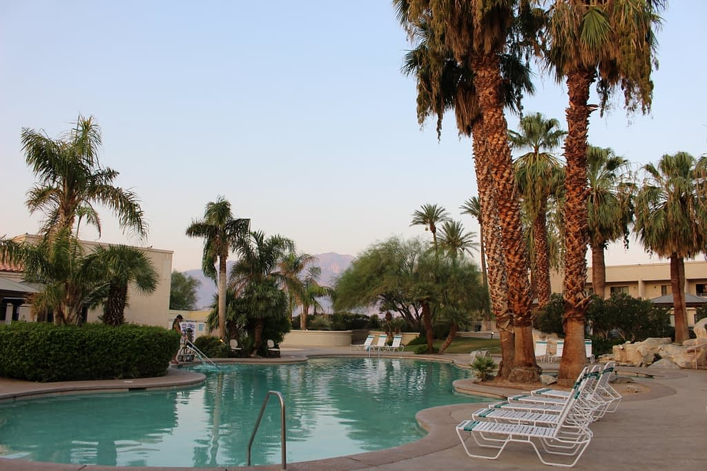 courtyard pools with mountain view