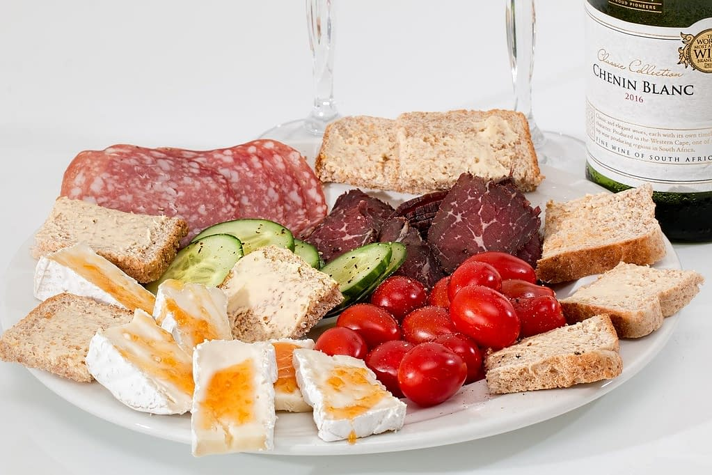 food platter, cheese, salami